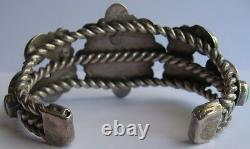 Large Vintage Navajo Indian Silver Deluxe Turquoise Men's Cuff Bracelet