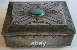 Large Vintage Navajo Indian Silver & Turquoise Stamped Thunderbirds Box
