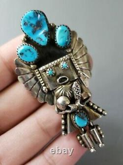 Large Vintage Navajo Native American 925 Sterling Silver Kachina Pendant Brooch