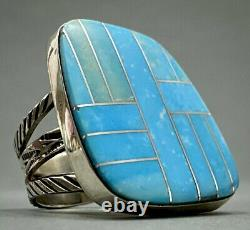 Large Vintage Navajo Native American Sterling Silver Turquoise Inlay Ring