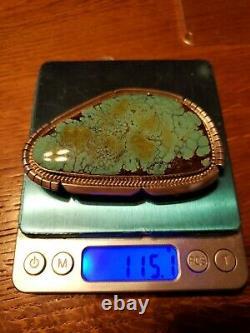 Large Vintage Navajo Sterling Silver Number 8 Turquoise Signed Belt Buckle