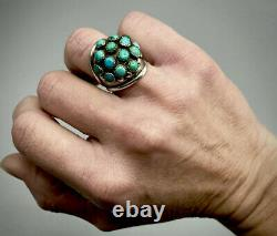 Large Vintage Navajo Sterling Silver Turquoise Cluster Dome Ring STUNNING