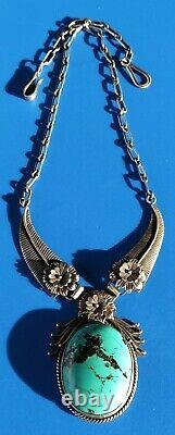 Large Vintage Navajo Sterling Silver Turquoise Feather Necklace 82.1 Grams