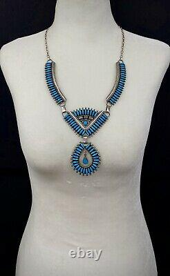 Large Vintage Navajo Sterling Silver Vivid Blue Turquoise Panel Bib Necklace WOW
