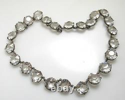 Large Vintage Sterling Silver Clear Paste Collar Necklace