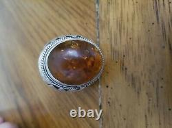 Large Vintage Sterling Silver Navajo Amber Ring