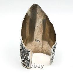 Large Vintage Sterling Silver Siam Thai Dancer Cuff Bracelet 94.5g