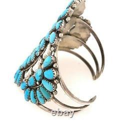 Large Vintage Sterling Silver Turquoise Cluster Cuff Bracelet OLD SIGNED E S/S