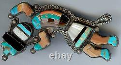 Large Vintage Zuni Indian Silver Inlaid Coral Onyx Turquoise Rainbow Man Pin