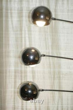 Large Vtg SONNEMAN Chrome Orb Ball Floor Lamp. 3 Adjustable Arms & Handles. RARE