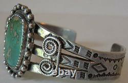 Large Wrist Men's Vintage Navajo Indian Silver Green Turquoise Cuff Bracelet