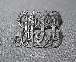 Large antique 1800s ornate Victorian handmade sterling silver brooch pin initial