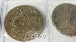 Lot of 4 large vintage chinese silver dollar coins crown ming dragon emperor fat