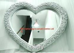 Love Heart Wall Mirror Shabby Chic Large Antique French Rose Silver 110x93cm