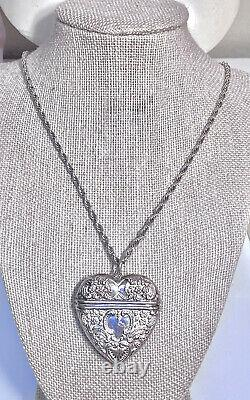 Lovely Antique British Sterling Silver Large Ornate Repoussé Heart Box Necklace