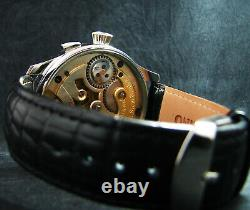 Luxury Men's Gift antique 1900 marriage Large Steel Wristwatch Porcelain DIAL