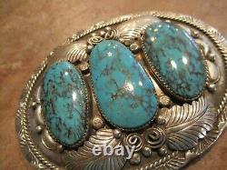 MARVELOUS LARGE Vintage Navajo Sterling Silver ROYSTON Turquoise Belt Buckle