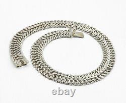 MEXICO 925 Silver Vintage Large Shiny Two Row Flat Chain Necklace N2470