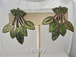 Margot De Taxco Sterling Silver Enamel Large Green Leaf Earrings 5405 Vintage