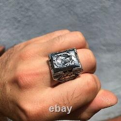 Mens Vintage Sterling Silver 10K Gold Large Thick Ship Art Deco Heavy Crest Ring