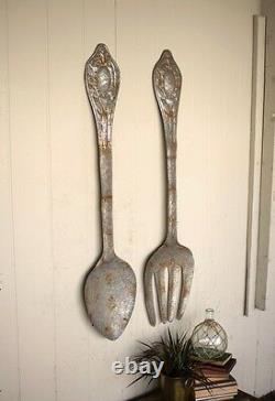 Metal Fork Spoon Set Wall Art Utensil Silverware Farmhouse Rustic Recycled 60H