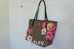 NWT Coach C5785 City Tote In Signature Canvas With Vintage Rose Print $378
