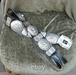 Navajo Estate/vintage Lrg Museum Pc Sterling Silver/turquoise Concho Belt Hvd-10