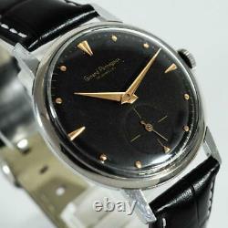 Original Large Girard Perregaux Black Dial Manual Wind Vintage Steel Gents Watch