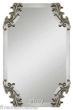 Ornate Large Frameless VICTORIAN Wall Mirror Vanity Silver NEIMAN MARCUS Antique
