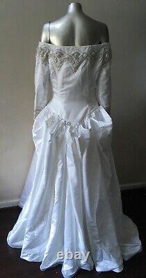 Pearl Beaded 2 Piece Vintage Bustle Wedding Train Long Sleeve White Tube Dress L