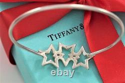RARE Vintage Tiffany & Co Silver Interlocking 3 Stars Hook Bangle Large Bracelet
