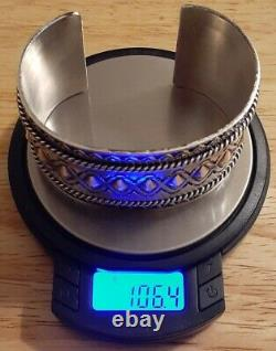 RAY BENNETT Navajo Sterling Silver Cuff Bracelet Vintage Native Heavy Big Large