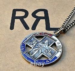 RRL St. Christopher Medal LARGE Vintage Sterling Silver Enamel Chain Surfing USA