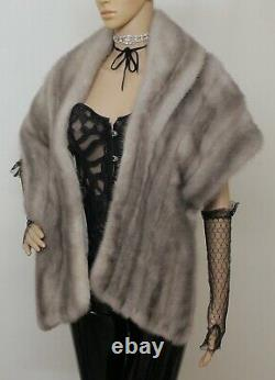 Real Mink Fur Blue Silver Grey Large Stole Cape Wrap Bolero Jacket Visone