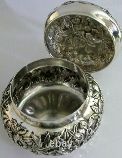 SUPERB LARGE AMERICAN STERLING SILVER POT BOX TEA CADDY S KIRK c1900 HEAVY 224g