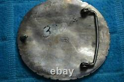 Signed Tommy Moore Navajo Sterling Silver Large Turquoise Cluster Belt Buckle