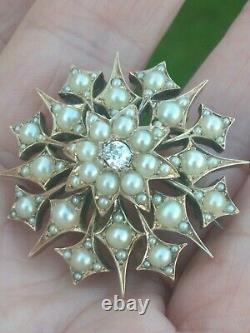 Stunning Large Victorian Gold & Silver Diamond Pearl Brooch Pendant