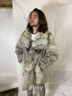 Stunning Vintage Real Silver Fox Fur Coat Size Large Womens / Small Mens