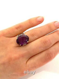 Stunning Vintage Sterling Silver Large Alexandrite Cocktail Ring Size N
