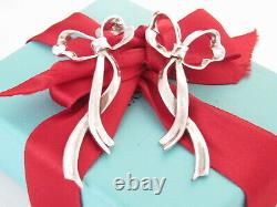 Tiffany & Co Silver Large Love Ribbon Earrings Bow Studs Vintage Flowing