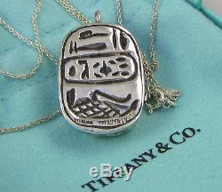 Tiffany & Co Vintage Sterling Silver Large Scarab 24 Inch 23.8 Gram Necklace