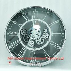 Traditional Style Silver Black Moving Cogs Large Round Wall Clock LONDON Writing