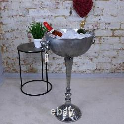 Tumbani Large Vintage Floor Standing Distressed Champagne Bucket Ice Silver Bar