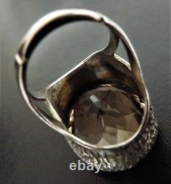 VINTAGE 1970s Smoky Quartz Sterling Silver Cocktail Ring Smokey Chunky