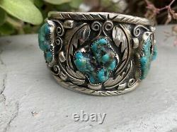 VINTAGE NAVAJO STERLING SILVER TURQUOISE CUFF BRACELET SIGNED LT With RING LARGE