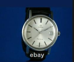 VINTAGE OMEGA GENEVE 17J CAL. 613 LARGE STAINLESS MENS WATCH SERVICED WithBOX 1970