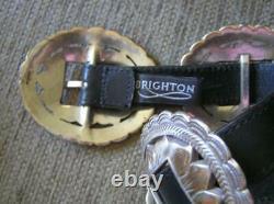 VTG BRIGHTON CONCHO BLACK LEATHER BIG SUNFLOWER SILVER TONE CONCH Small 31
