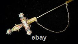 Very Large Antique Victorian Micro Mosaic Silver Sword Dagger Brooch Jabot Pin