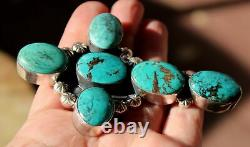 Very Large & Heavy Vintage Navajo Turquoise Stone Cross Sterling Silver Pendant