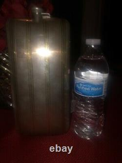 Very Large Sterling Silver Vintage Flask With14K On Front